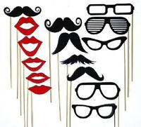 15pcs PARTY MASK PHOTO BOOTH PROPS MOUSTACHE STICK WEDDING BIRTHDAY PHOTOGRAPHY