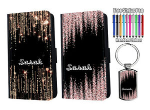 PERSONALISED Name Printed Glitter Flip Leather Wallet Phone Case Cover + Keyring