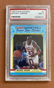 1988 Fleer Sticker Michael Jordan #7 PSA 7 NRMT