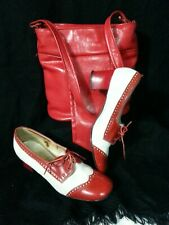 Vtg Lot 50 60s Red Hand Bag & Hush Puppies Shoes Oxford Block Heel Red White 8N