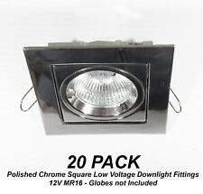 20x Polished Chrome SQUARE Gimble Downlight Fittings 12V MR16 Gimbal Low Voltage