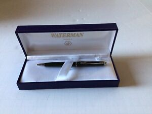 WATERMAN BALLPOINT PEN  GREEN WITH  GOLD ACCENT PARIS FRANCE BOX