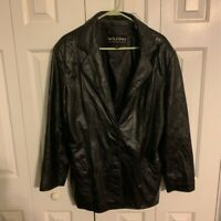 Wilsons Leather Women's Blazer Jacket Black Button Lined Notch Lapel Pockets XL