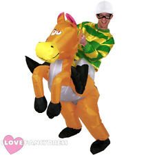 GREEN JOCKEY RIDING INFLATABLE HORSE COSTUME FANCY DRESS STAG FUNNY PUB CRAWL