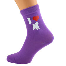 I Love Bichon Frise Ladies Purple Dog Socks UK Size 4-8 X6N136