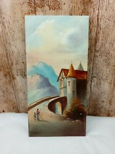 VINTAGE EARLY 20TH CENTURY HAND PAINTED 12X6 INCH TILE SWISS/AUSTRIAN ALPS