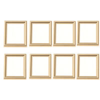 8 Pieces Golden 1:12 Miniature Wall Painting Frame Dollhouse Micro Landscape