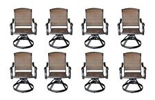 Wicker Swivel Chairs Cast Aluminum Dining Outdoor Patio Furniture Set of 8