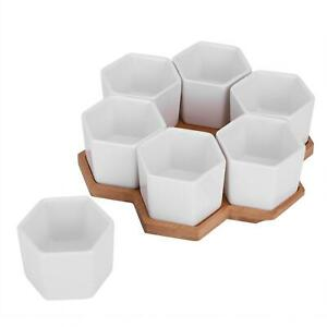 Plant Pot White Flower Pot With Bamboo Tray For Bedrooms Garden Company Yard