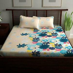 Indian Floral Print 100% Cotton Bedspread Double Queen Size Bed Sheet Bed Cover
