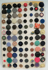 Vintage Sewing Buttons - Lot of 96 Different FABRIC Buttons on Decorative Card