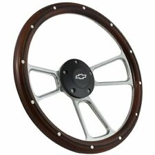 "Polished & Black w/ Mahogany Wood 14"" Steering Wheel For 1995 - 2001 Chevy S-10"
