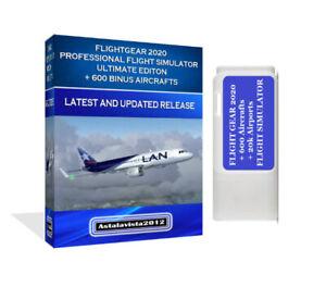 FlightGear 2021 Pro Flight Simulator X Ultimate Edition USB For Windows PC & MAC