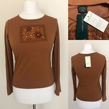 BNWT Vintage Laura Ashley Size Small Brown Long Sleeve Jersey Style Sequin Top