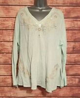 EMBELLISHED Beachy Top Size 18 MINT GREEN Tunic/Kaftan CANVAS Women's VGC Summer