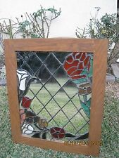 VINTAGE LATTICE MIRROR ACCENTED w/ STAINED GLASS FLOWERS