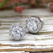 Exquisite Round & Baguette Halo Diamond Wedding Stud Earrings 9kt White Gold