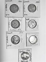 7 Canadian Silver Quarters: 1941-45 WWII era coins; 1953 MS & a 1966 Proof-like