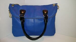 Steve Madden Fold-Down Expandable Blue Handbag Satchel,Shoulder Strap, Gold Trim