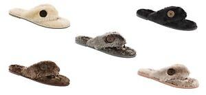 Women's Ella Warm Faux Fur Lined Memory Foam Toe Post Flip Flops Slippers