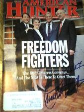 "CHARLTON HESTON & PHIL GRAMM Autographed "" AMERICAN HUNTER"" 1995 Magazine  !!!"