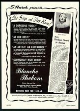 1949 Blanche Thebom photo Usa recital tour booking trade print ad