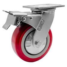 1 Pack 6 Heavy Duty Caster Wheel Swivel Plate Maroon Pu With Brake Wheels