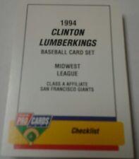 1994 CLINTON LUMBERKINGS MINOR LEAGUE FLEER TEAM SET-CLASS A AFFILIATE SF GIANTS