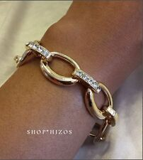 "GOLD PAVE CRYSTAL OVAL RING CHAIN LINK 7"" CLASP STATEMENT BRACELET"