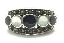Vintage Oxidized Sterling 925 Black Onyx Mother Of Pearl Marcasite Cocktail Ring