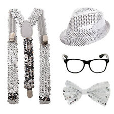 Sequin Sparkle Geek Fancy Dress Kit Braces Blue Hat Bowtie Glasses