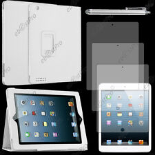 Housse Etui Portefeuille PU Cuir Blanc Apple iPad 4 Retina 3 2+Stylet+3 Films