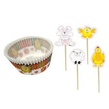 Easter Cup Cake Cases & Picks 48pk Chick Bunny Spring Cake Decoration