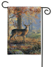 "12.5"" x 18"" DEER IN WOODS WILD TURKEYS Autumn Fall Small Decorative Banner Flag"