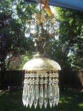 1of2 Vintage Cherub Lamp Chandelier brass plt crystal bobeche glass Clear prisms