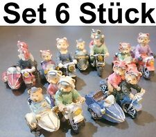 6x Miniature Side-Car Bear Sidecar Motorcycle Classic Car Collect Motor Sports
