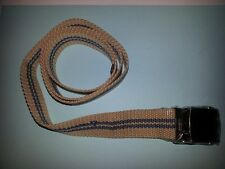 NEW Beige/Brown Striped Canvas/Webbing Simple Light Weight Belt ADULT ONE SIZE