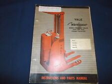 YALE WAREHOUSER RIDER STRADDLE TRUCK 2K 3K LB PARTS MANUAL BOOK CATALOG