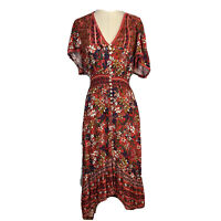 Label Of Love Womens Size M Bohemian Gypsy Maxi Button Up High Low Hem Dress