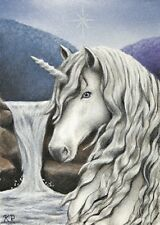 ACEO art print Unicorn waterfall mountains animal signed numbered Ltd (25) ed KR