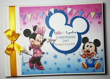 PERSONALISED DISNEY BABY MICKEY AND MINNIE JOINT BIRTHDAY GUEST BOOK