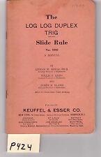 K&E Log-Log Duplex Slide Rule Manual, sliderule, VG cond, (P424)