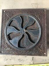 "Ornate 8""Heat grate vent register flower louver old antique rustic casat iron"