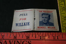 Antique Vintage Wendell Willkie Match Book American Pullmatch