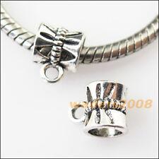 20 New Flower Tibetan Silver Bail Bead Fit Bracelet Chrams Connectors 7.5x9.5mm