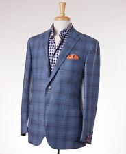 NWT $3095 SARTORIA PARTENOPEA Sky Blue Check Wool-Cashmere Sport Coat 42 R Eu52