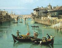 Arno River And Ponte Vecchio In Florence Canaletto Painting Print Canvas Poster