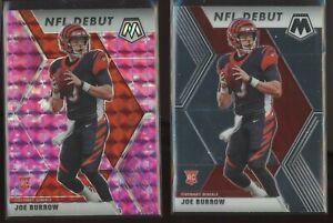 (2) 2020 Panini Prizm Mosaic JOE BURROW NFL DEBUT Pink + BASE RC Rookie Card 261