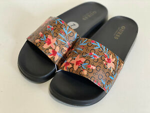 NEW! GUESS WAITING BROWN FLORAL WOMEN'S POOL SLIDES SANDALS 7 37 SALE