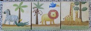 3 Pc Safari Wall Art for Nursery/Child's Room